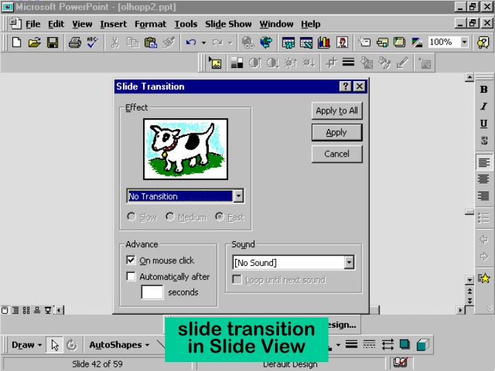 slide transition in Slide View