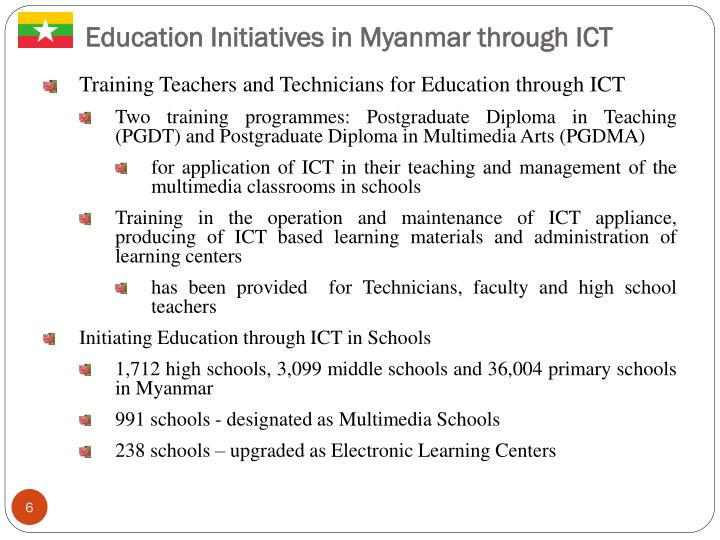 Education Initiatives in Myanmar through ICT