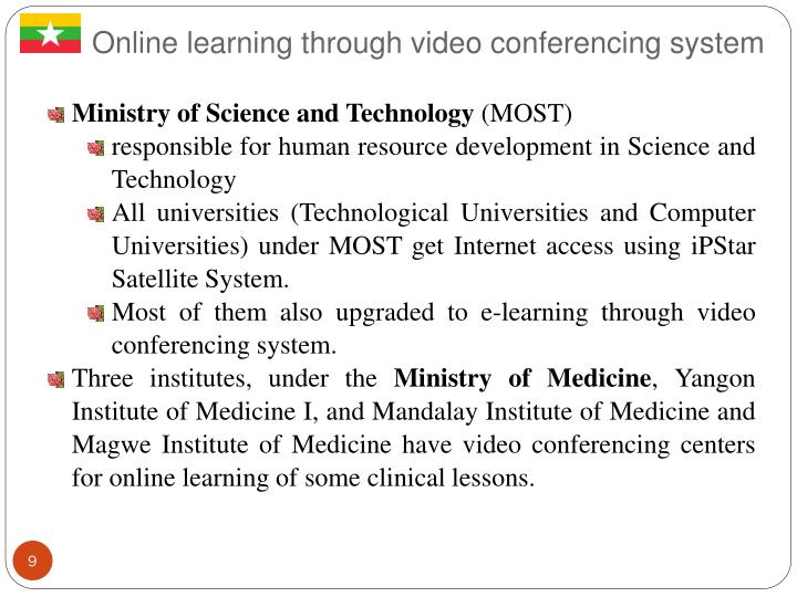 Online learning through video conferencing system