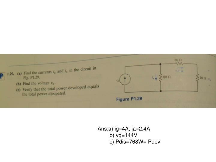 Ans:a) ig=4A, ia=2.4A