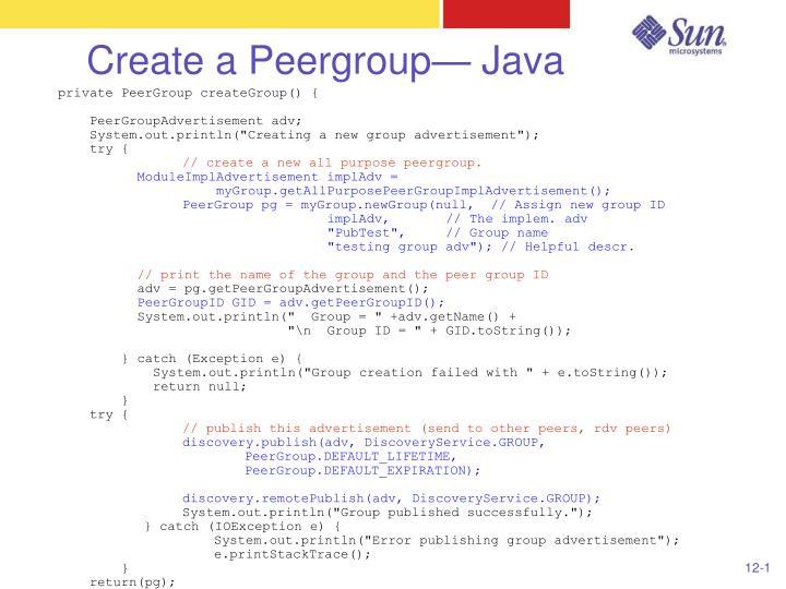 Create a Peergroup