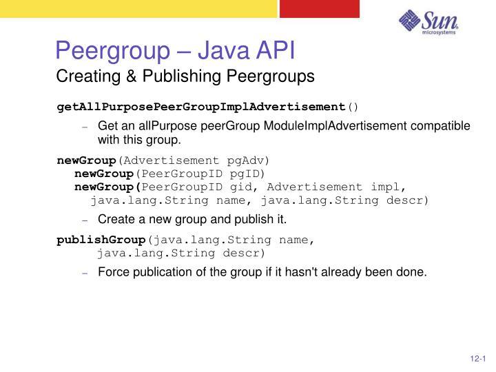 Peergroup – Java API