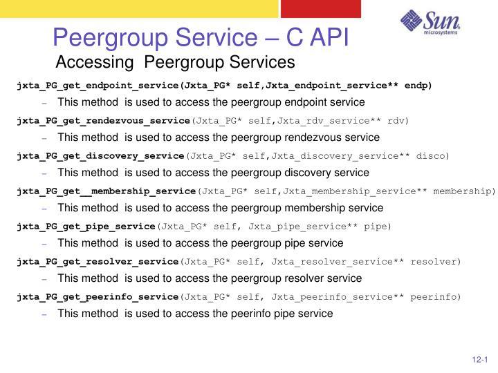 Peergroup Service – C API