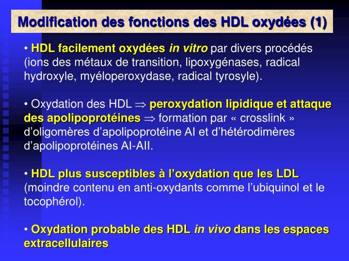 Modification des fonctions des HDL oxydées (1)