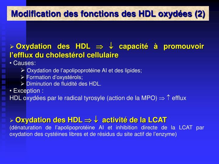 Modification des fonctions des HDL oxydées (2)