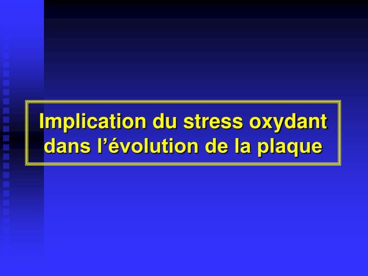 Implication du stress oxydant dans l'évolution de la plaque