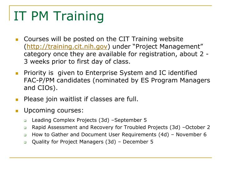 IT PM Training