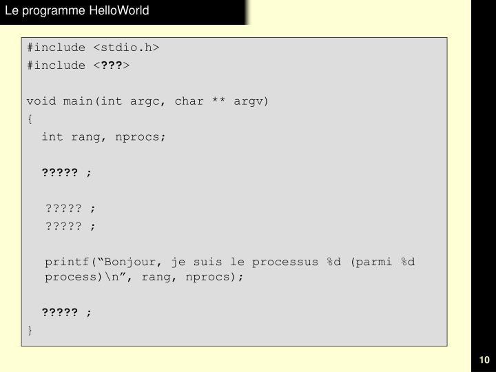 Le programme HelloWorld
