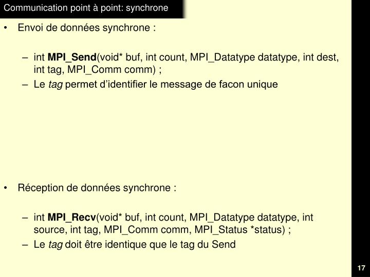 Communication point à point: synchrone