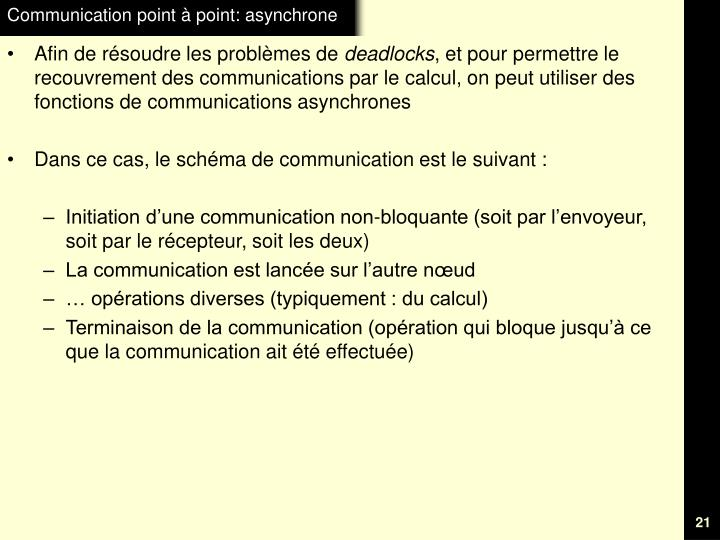 Communication point à point: asynchrone