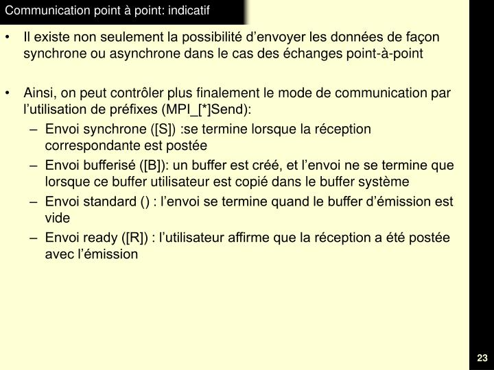 Communication point à point: indicatif
