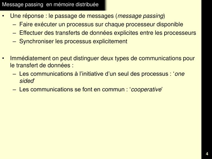 Message passing  en mémoire distribuée
