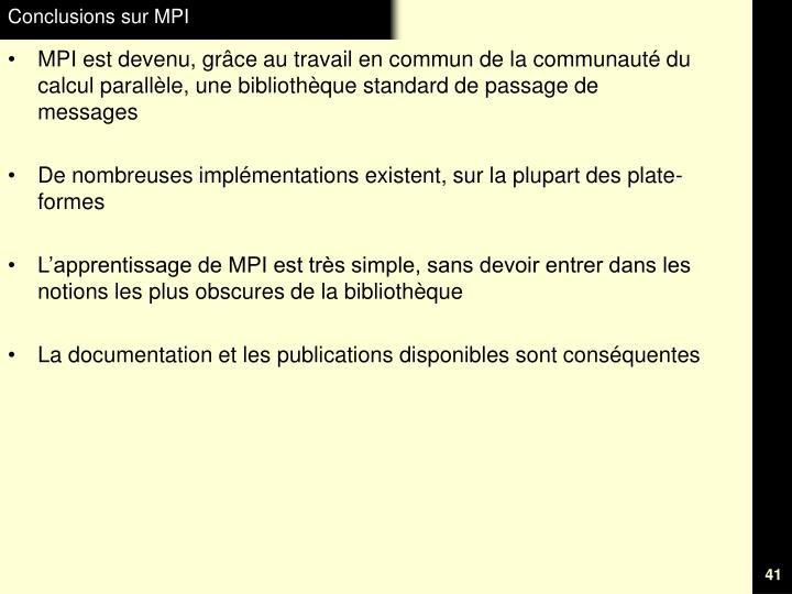 Conclusions sur MPI