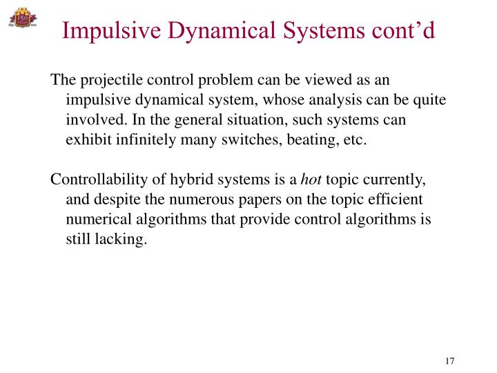 Impulsive Dynamical Systems cont'd