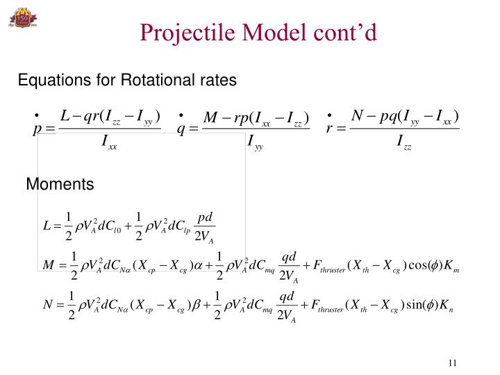 Projectile Model cont'd