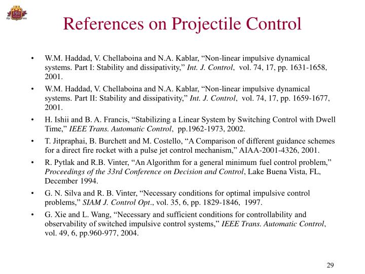 References on Projectile Control