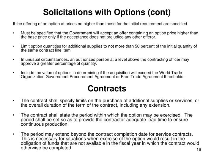 Solicitations with Options (cont)