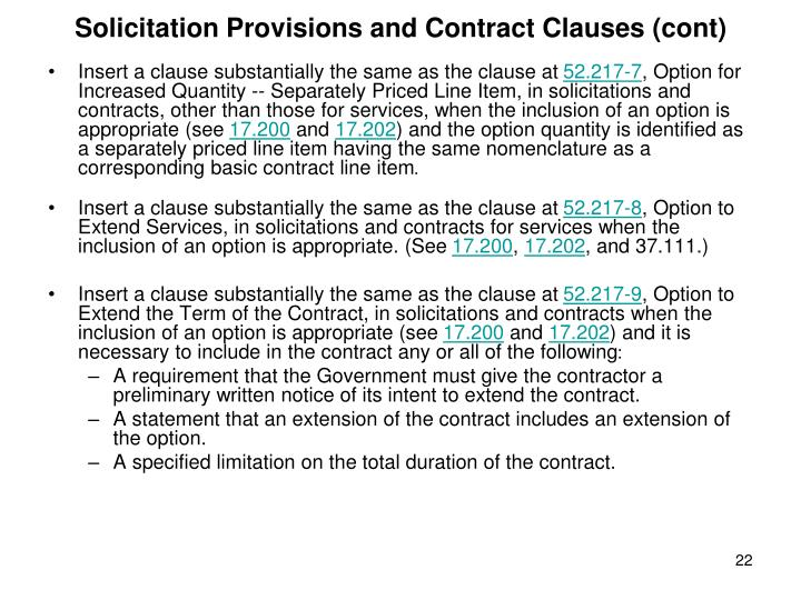 Solicitation Provisions and Contract Clauses (cont)