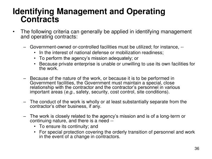 Identifying Management and Operating Contracts