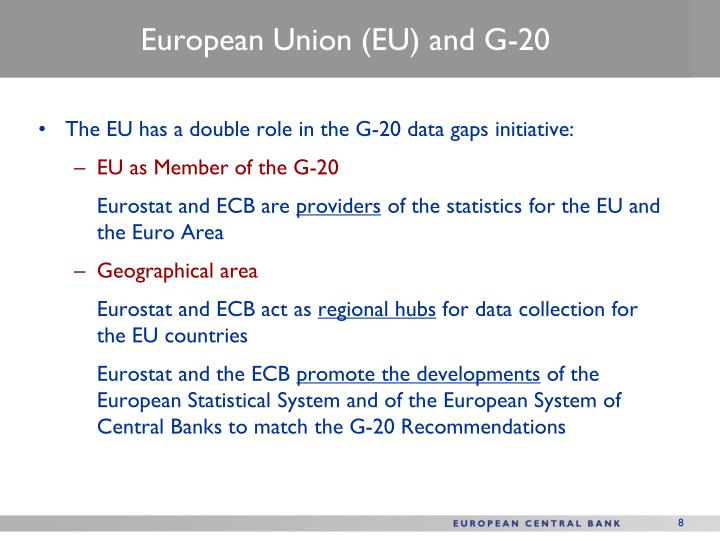The EU has a double role in the G-20 data gaps initiative: