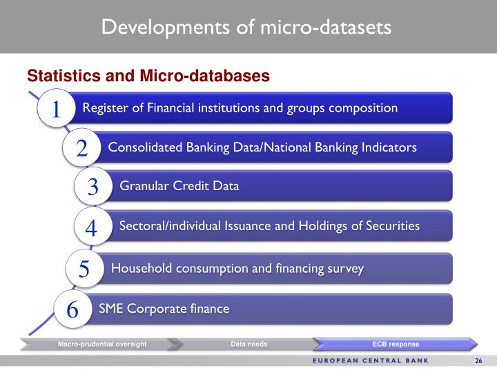 Developments of micro-datasets