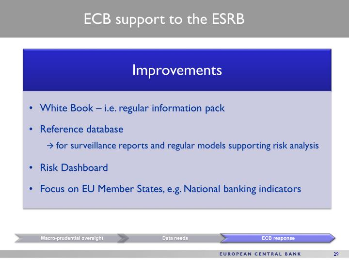 ECB support to the ESRB