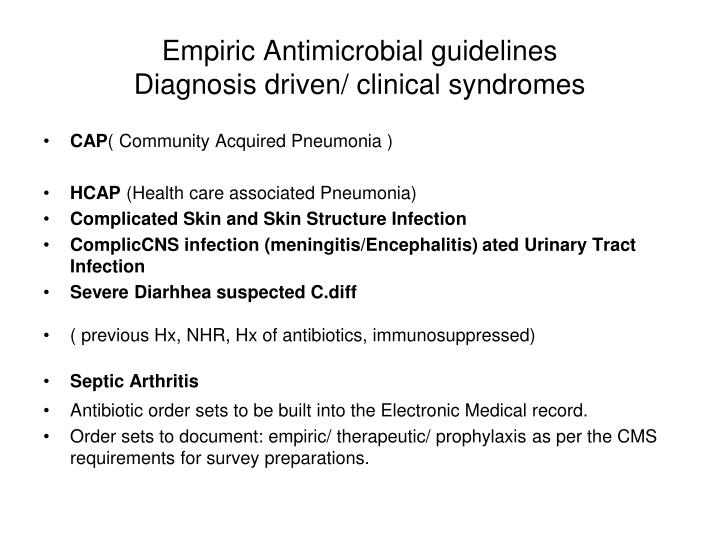 Empiric Antimicrobial guidelines