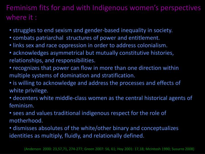 """gender indigenous feminism Indigenous feminism quotes quotes tagged as indigenous-feminism (showing 1-2 of 2) """"first off, as has been well stated by many indigenous feminists before us, the idea of gender equality did not come from the suffragettes or other so-called foremothers of feminist theory."""