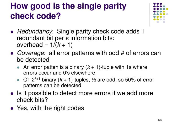 How good is the single parity check code?