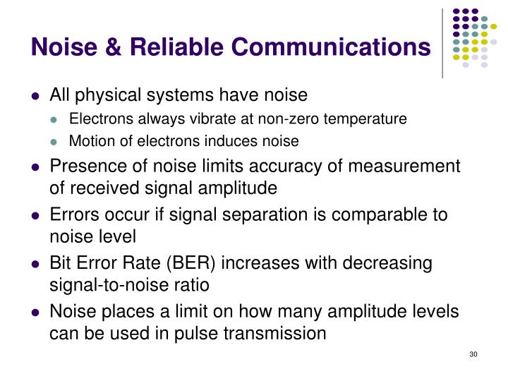 Noise & Reliable Communications