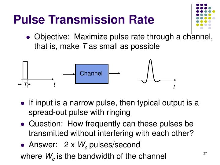 Objective:  Maximize pulse rate through a channel, that is, make