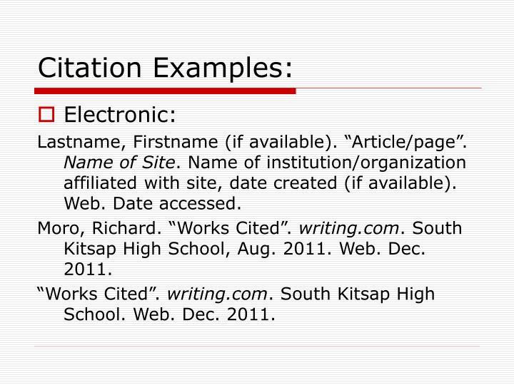Citation Examples: