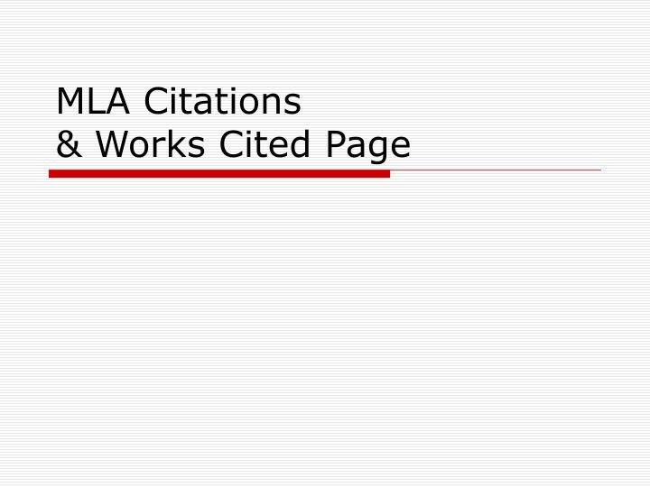 Mla citations works cited page