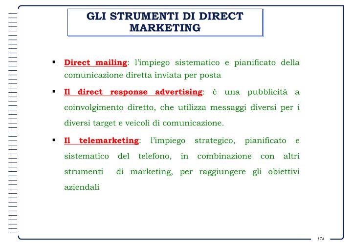 GLI STRUMENTI DI DIRECT MARKETING