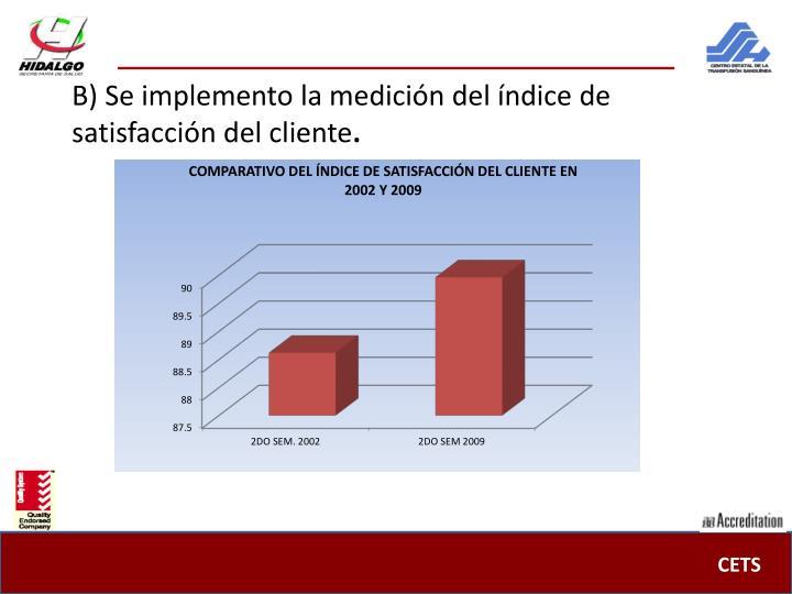 B) Se implemento la medición del índice de satisfacción del cliente