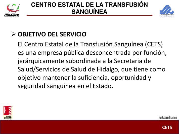 CENTRO ESTATAL DE LA TRANSFUSIÓN SANGUÍNEA