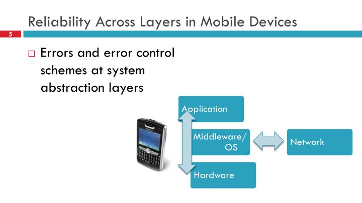 Reliability Across Layers in Mobile Devices
