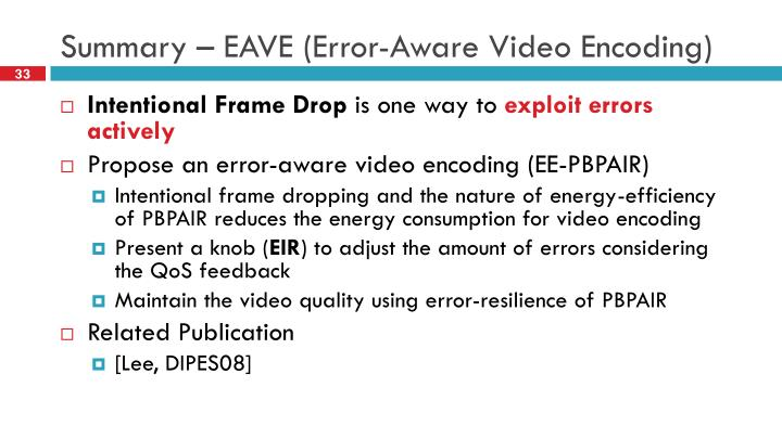 Summary – EAVE (Error-Aware Video Encoding)