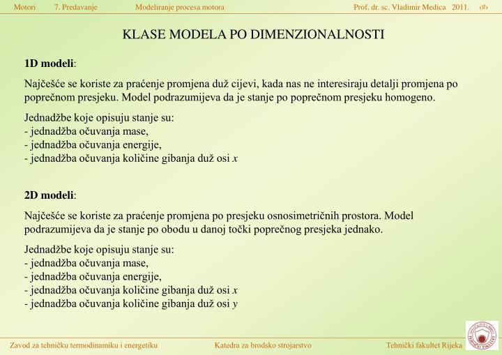 KLASE MODELA PO DIMENZIONALNOSTI