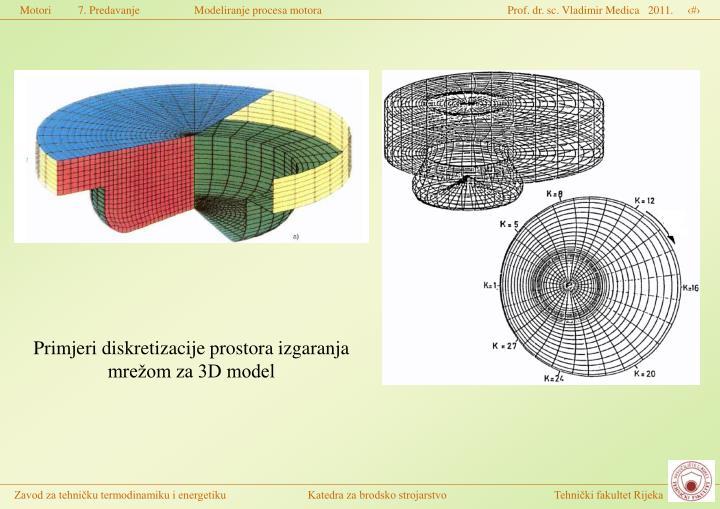 Primjeri diskretizacije prostora izgaranja mrežom za 3D model
