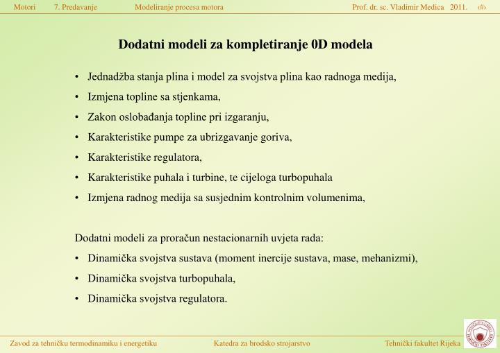 Dodatni modeli za kompletiranje 0D modela