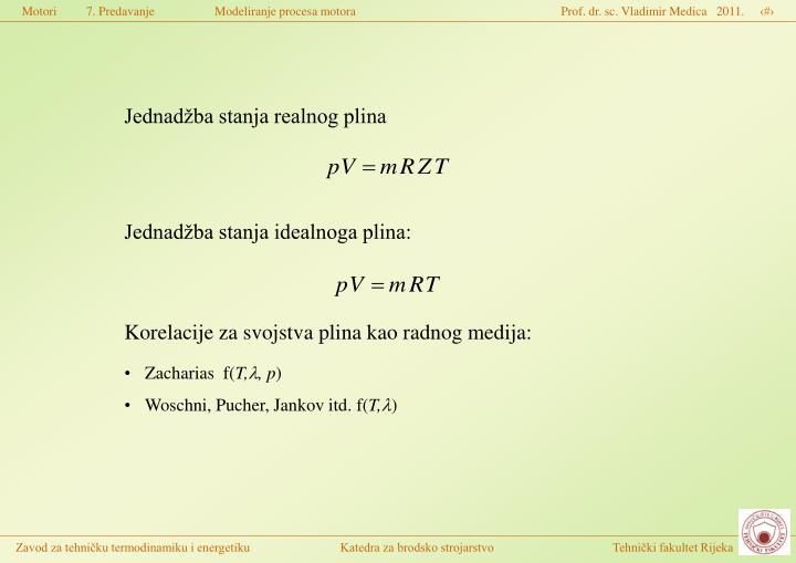 Jednadžba stanja realnog plina