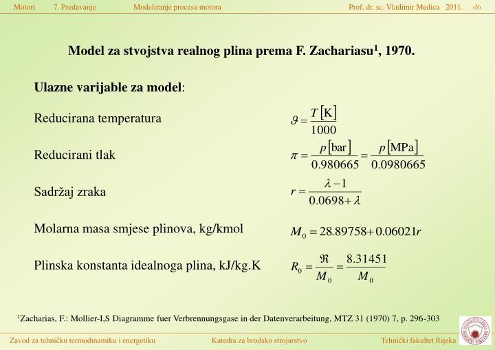 Model za stvojstva realnog plina prema F. Zachariasu