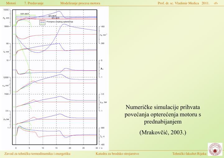 Numeričke simulacije prihvata povećanja opterećenja motoru s prednabijanjem