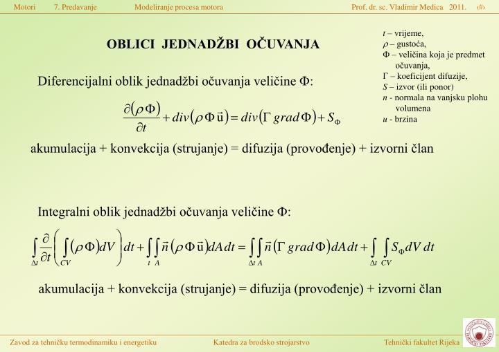 Integralni oblik jednadžbi očuvanja veličine