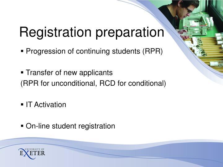 Registration preparation