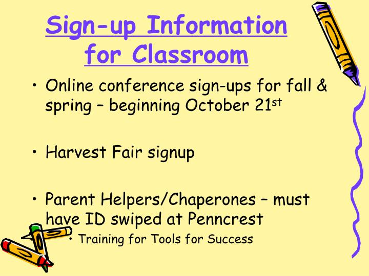 Sign-up Information for Classroom