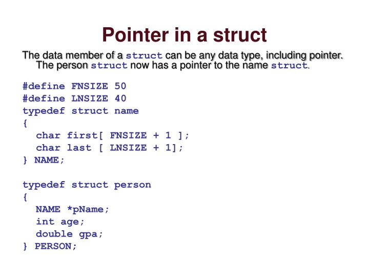 Pointer in a struct