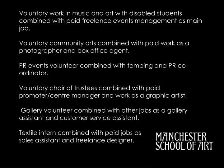 Voluntary work in music and art with disabled students combined with paid freelance events management as main job.