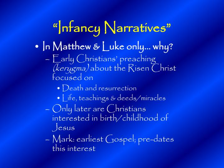 """Infancy Narratives"""